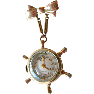 Ships Wheel Picard 10K Rolled Gold Watch Pin In Working Condition - Picard 7 Jewel Watch - Wind Up Barruch Watch Pin - Mechanical Watch
