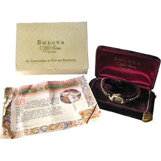 Bulova 17 Jewel Watch In Original Velvet Box With Guarantee Bond - 10 K Rolled Gold Watch in Working Condition - Never Used Watch