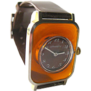 Dynasty Rootbeer Lucite Wrist Watch In Working Condition - Mid Century Mechanical Watch - Skeleton Watch - Wind Up Watch