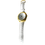 Joan Rivers Classics Extra Large Quartz Watch - Domed Face Watch - White Leather Watch Band