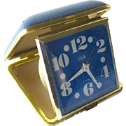 Elgin MOD Travel Alarm Clock In Blue Leather Case - Large Number Clock - Elgin Alarm Clock