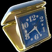 Elgin MOD Travel Alarm Clock In Blue Leather Case - Large Number Clock - Elgin Alarm Clock