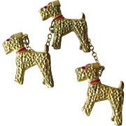 Walking The Dogs Triple Airedale Scatter Pins Connected by Chains - Terrier Dog Brooch - Figural Pin - Collectible Brooch