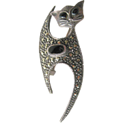 Sterling Marcasite and Onyx Cat Brooch - Figural Pin - Marcasite Cat Pin