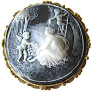 Cherub Scene Resin Cameo Brooch - Large Cameo Pin - Costume Jewelry Cameo