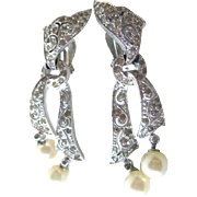 Panetta Ribbon Rhinestone and Faux Pearl Earrings - Costume Jewelry Clip On Earrings - Signed Costume Jewelry - Dangle Earrings
