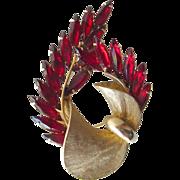 Red Rhinestone Bow Spray Brooch - Costume Jewelry Pin