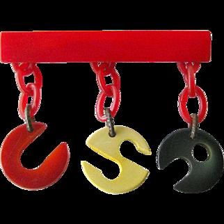 Bakelite USA Dangle Brooch - Vintage Jewelry - Bakelite Jewelry - Bakelite Pin - Patriotic Pin - Patriotic Brooch - Dangle Pin