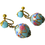 Venetian Wedding Cake Bead Earrings With Screw Backs - Vintage Earrings - Glass Bead Earrings - Screw Back Earrings - Lamp Work Beads