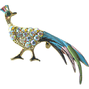 Peacock Rhinestone Pin - Costume Jewelry Pin - Figural Brooch - Costume Jewelry Brooch