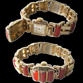 Etna Watch Company Carnelian Bracelet Watch With Hidden Watch - Collectible Watch - 17 Jewel Watch - Mechanical Watch - Wind Up Watch