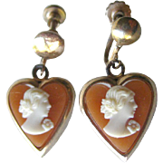 Resin Cameo Heart Earrings - Screw Back Earrings - Cameo Earrings