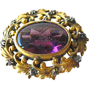 Amethyst and Rhinestone Victorian Pin by Plainville Stock Company - Vintage Jewelry - Estate Jewelry - Vintage Brooch