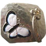 Art Deco Butterfly Enamel Dress Clip - 1920s Dress Clip