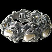 Signed Botticelli Faux Perl Art Nouveau Style Bracelet - Vintage Bracelet - Designer Jewelry - Chain Bracelet
