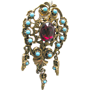 Red Brooch With Turquoise Accents - Costume Jewelry Pin - Dangle Pin - Costume Brooch