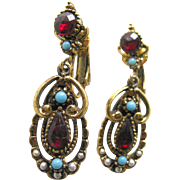 Red and Turquoise Earrings By ART - Signed Costume Jewelry Earrings - Dangle Earrings - Clip On Earrings - Designer Earrings