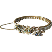 Unsigned Early Miriam Haskell Pearly and Rhinestone Bracelt - Haskell Bangle Bracelet With Safetly Chain - Pearl Bracelet