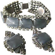 Gray Moonstone and Rhinestone Bracelet and Earring Set - Vintage Costume Jewelry - Clip On Earrings