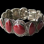 Carnelian and Marcasite Bracelet - Art Deco Style Bracelet
