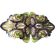 Champlevé Enamel Belt Buckle - Art Nouveau Enameled Buckle