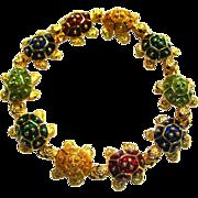 Kenneth Jay Lane Enamel Turtle Bracelet - Designer Bracelet - Signed Costume Jewelry - Vintage Bracelet - KJL Bracelet
