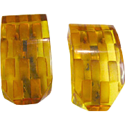 Bakelite Reverse Carved Dress Clips - Apple Juice Bakelite - Art Deco Fur Clips