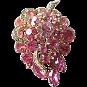 Vintage Weiss Pink Rhinestone Grape Pin - Grape Brooch - 1950s Designer Fashion Jewelry - Signed Costume Jewelry - Vintage Weiss Brooch