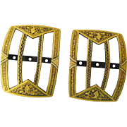 Damascene Shoe or Belt Buckles - Pair of Elegant Buckles