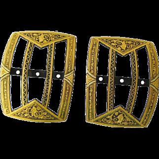 Damascene Shoe or Belt Buckles - Pair of Elegant Buckles