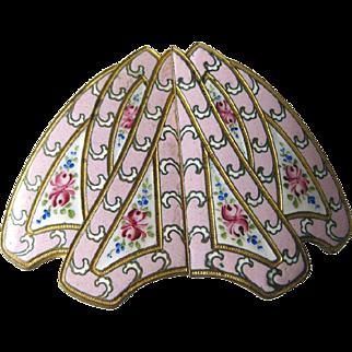 Pink Enamel Belt Buckle With Roses - Elegant Buckle - Pink Enamel Jewelry - Victorian Era Belt Buckle