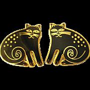 Keshire Cat Pierced Earrings by Laurel Burch - Vintage Cat Earrings - Laurel Burch Earrings - Laurel Burch Jewellery