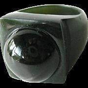Jade and Bullseye Black Agate Ring Size 9.5 - Stone Ring - Jade Ring - Mens Ring - Womans Ring - Chalcedony Ring - Cats Eye Agate Ring