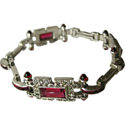 Red and White Art Deco Rhinestone Bracelet - Art Deco Jewellery - Silver and Red Bracelet - Costume Jewellery
