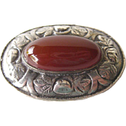 35 Sterling and Carnelian Brooch - Estate Jewelry - Antique Pin