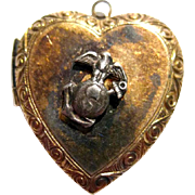 Marine Heart Locket Sterling and Gold Filled by Louis Stern - Sweetheart Jewelry