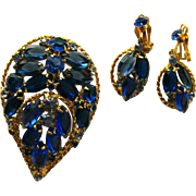 Blue Rhinestone Pin and Dangle Earring Set - Vintage Costume Jewellery - Womens Jewelry - Blue Rhinestone Brooch - Rhinestone Earrings