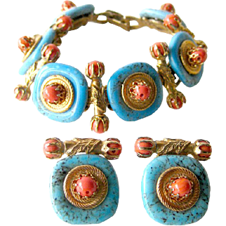 Turquoise and Coral Bracelet and Clip On Earrings Set - Vintage Earrings - Costume Jewellery - MOD Jewelry - Mid Century Jewelry
