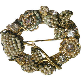 Miriam Haskell Pearl and Rhinestone Brooch - Haskell Pin - Vintage Costume Jewelry - Costume Jewellery