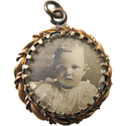 Victorian Baby Picture Pendant Double Sided - Victorian Mothers Brooch - Vintage Childrens Photos