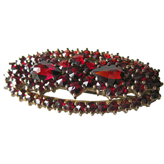 Garnet Sterling With Gold Wash G 900 Vintage Brooch - Antique Garnet Pin - European Silver Pin - Estate Jewellery Brooch