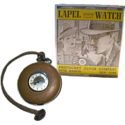 Ingraham Lapel Watch Working In Original Box - French Enameled Pocket Watch - Aristocrat Lapel Watch - Brown Enamel Watch - Mechanical Watch