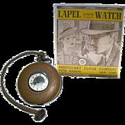 Ingraham Lapel Watch Working In Original Box - French Enameled Pocket Watch - Aristocrat Lapel Watch - Brown Enamel Watch - Mechanical Watch