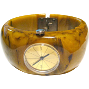Endura Watch Bakelite Clamper Bracelet - Mechanical Watch In Working Condition - Early Plastic Clamper Bracelet - Vintage Watch