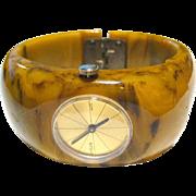 Endura Watch Bakelite Clamper Bracelet - Mechanical Watch In Working Condition - Early Plastic Clamper Bracelet - Vintage Watch