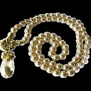 Tear Drop Pendant Faux Pearl Necklace