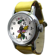 Minnie Mouse Wrist Watch - Mechanical Watch in Working Condition - Walt Disney Productions - Minnie Mouse Flower Pot Hat Wind Up Watch - Pie Eye Minnie Mouse