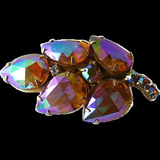 Large Faceted Rhinestone Leaf Brooch - Costume Jewellery Pin - Orange Aurora Borealis Pin