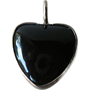 Mexican Sterling Onyx Heart Pendant - Vintage Mexican Silver Jewelry - Southwest Jewelry