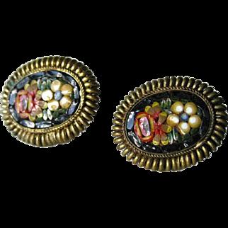 Italian Micro Mosaic Earrings - Screw Back Earrings - Vintage Micro Mosaic Earrings